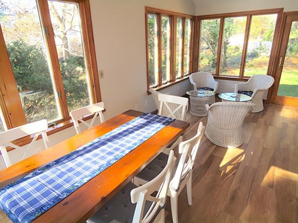 Brewster Cape Cod vacation rental - Dining and sitting areas in sun room