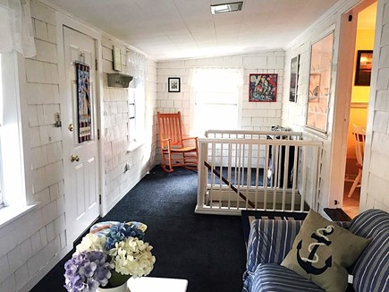 West Dennis Cape Cod vacation rental - Porch with view of stairs to basement