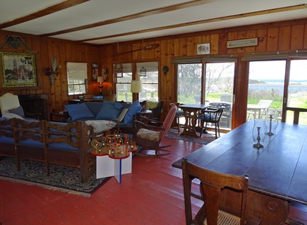 Wellfleet Cape Cod vacation rental - Large living room with sliders to patio, water views