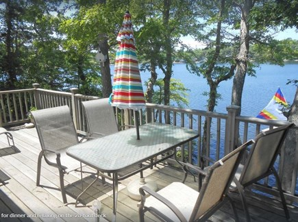 Plymouth, Cedarville MA vacation rental - Deck overlooking water has gas grill, table with seating for six