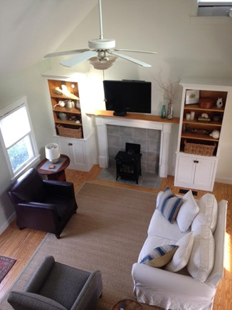 Sandwich Cape Cod vacation rental - View of living room from second floor landing.