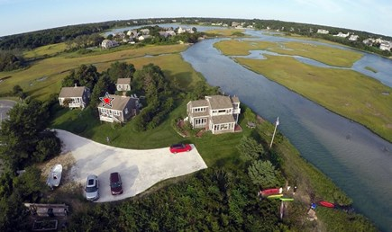 Chatham Cape Cod vacation rental - Aerial View with cottage in the middle. Incredible Location!!!