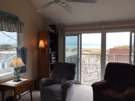 Dennis Cape Cod vacation rental - 2nd floor living room, slider to deck ~ amazing water views