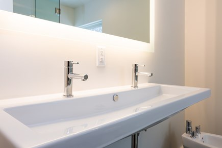 Provincetown Cape Cod vacation rental - Upper level full bath with bidet, double sink and stand up shower
