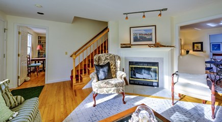 East Sandwich Cape Cod vacation rental - Living room with fireplace