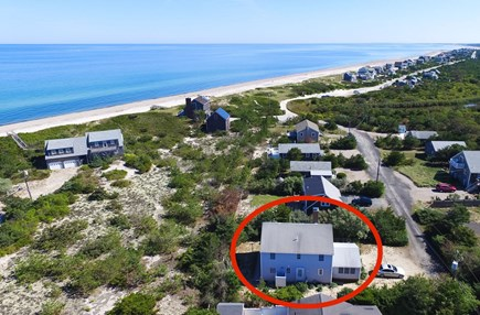 East Sandwich Cape Cod vacation rental - Aerial view with beach in distance