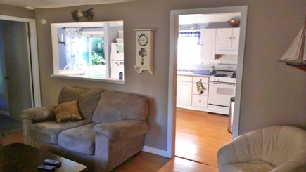Hyannis-West Hyannis Port Cape Cod vacation rental - Living room to kitchen. Open concept. Couch, Love Seat, Two Chair