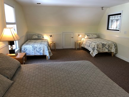 Wellfleet Cape Cod vacation rental - Upstairs Bedroom #1. Queen & 2 Twin beds. Memory foam mattresses.