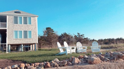 Barnstable  Cape Cod vacation rental - The view from the private beach looking at the yard & house.