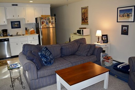 Provincetown Cape Cod vacation rental - Living room from porch, looking toward kitchen.