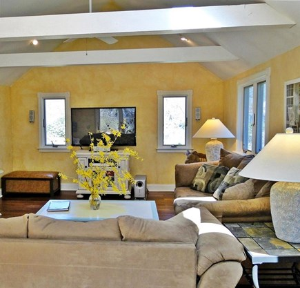 Brewster Cape Cod vacation rental - Hydrangea House: Family Room w/ HD TV & DVD/surround sound