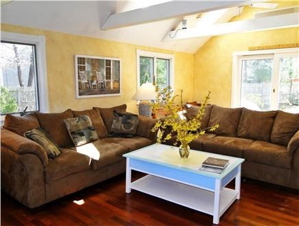 Brewster Cape Cod vacation rental - Hydrangea House: Bright, lofted living area w/patio access.