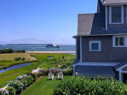 West Yarmouth Cape Cod vacation rental - View from deck of the House, showing the Cottage and Lewis Bay