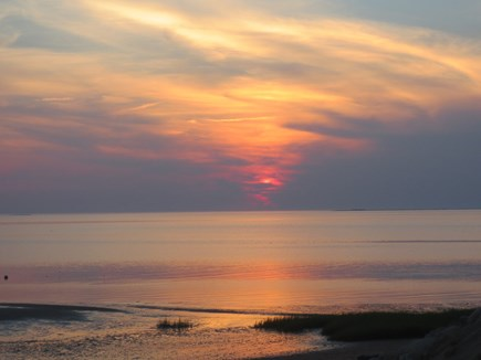 Eastham, Bayside Cape Cod vacation rental - Sunset viewed from the private beach.