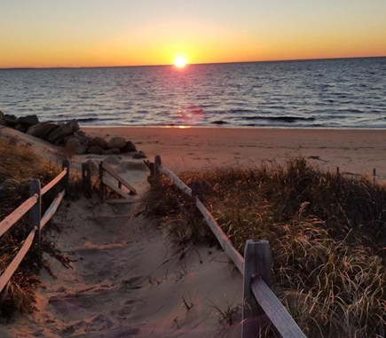 Eastham, Bayside Cape Cod vacation rental - Sunset over the private beach.