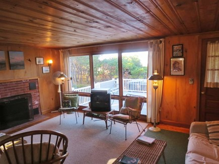 Eastham, Bayside Cape Cod vacation rental - Living room with fireplace.
