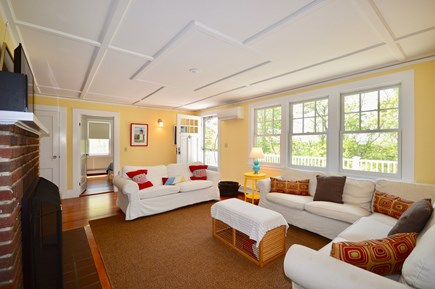 Wellfleet Cape Cod vacation rental - Living room with plenty of seating opens onto back deck