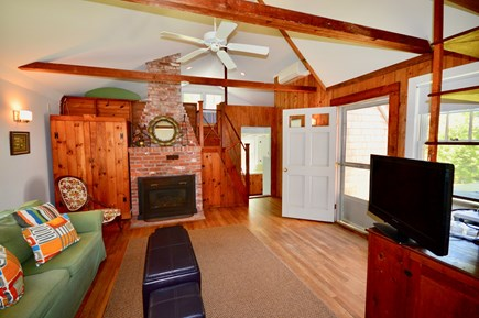 Wellfleet Cape Cod vacation rental - Cottage living area with sleeper sofa and loft with 2 full beds