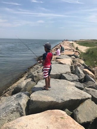 West Yarmouth Cape Cod vacation rental - Fishing off the Jetty at Seagull Beach