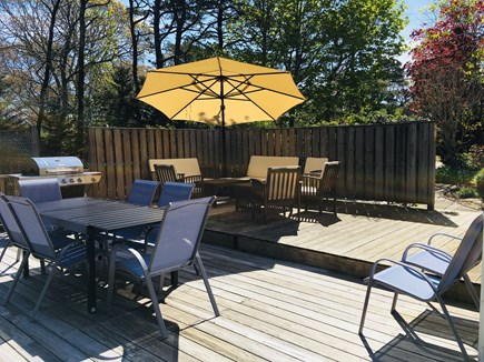Eastham Cape Cod vacation rental - Huge deck with gas grill, solar umbrella lights up at night