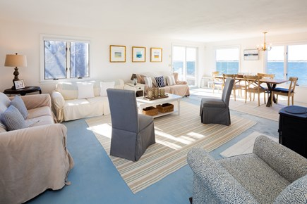 Barnstable Cape Cod vacation rental - Open living space with cheery coastal decor