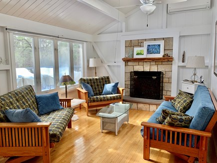 Eastham Cape Cod vacation rental - Living room cozy at night, bright & sunny during the day.