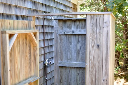 Eastham Cape Cod vacation rental - Private outdoor shower with hot and cold water.