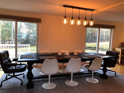 Osterville Woods, Osterville Osterville vacation rental - Sunny Dining Room with 8 Chairs Adjacent to Outside Sliders