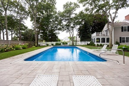 Osterville Osterville vacation rental - Pool view to cottage table area.