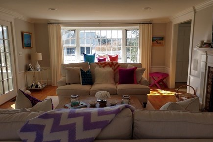 Osterville Osterville vacation rental - Family room with exit to cottage table and and pool area.