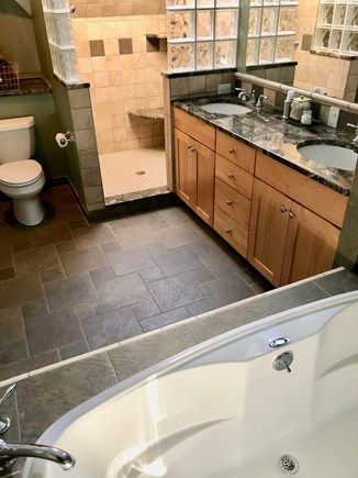 Brewster Cape Cod vacation rental - Master bath with jacuzzi tub and walk-in shower for two