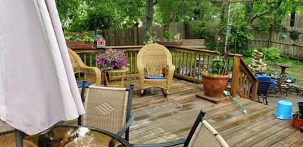 Dennisport Cape Cod vacation rental - 20x20 deck, stone patio, outdoor shower,  firepit, fenced yard
