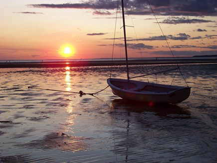EASTHAM Cape Cod vacation rental - Sunset at low tide on your private association beach.