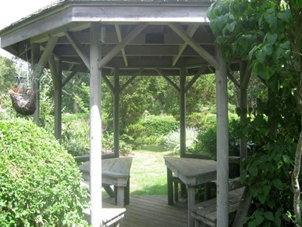 Wareham, Cod Canal and Little Harbor Ba MA vacation rental - Gazebo inside garden hedge