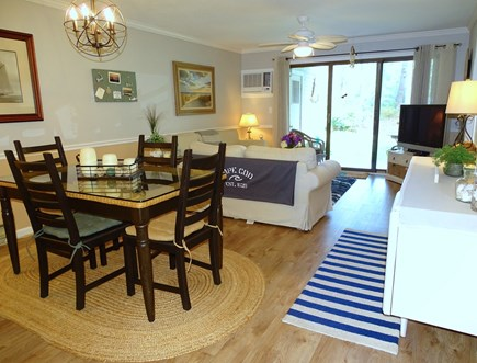 Brewster, Ocean Edge Resort  Cape Cod vacation rental - Open living area with slider to back patio