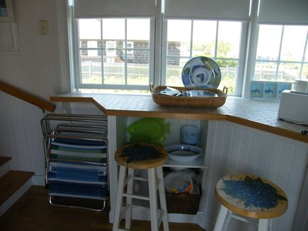West Yarmouth Cape Cod vacation rental - Breakfast bar overlooking wildflowers.