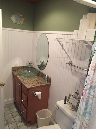 West Yarmouth Cape Cod vacation rental - Full bath with vessel sink and waterfall faucet.