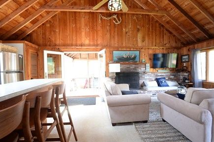 Eastham Cape Cod vacation rental - Living area opens to screened porch with new double doors!