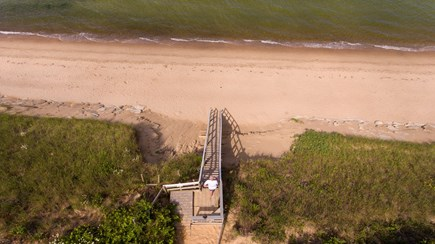 Eastham Cape Cod vacation rental - Stairs to the beach from drone shot