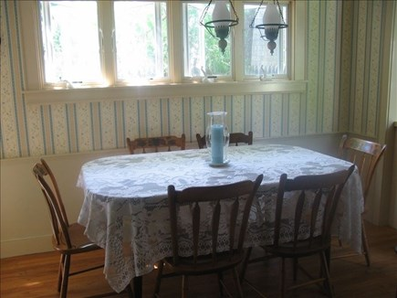 Near Hyannis Port Cape Cod vacation rental - Dining room with Hitchcock table and chairs