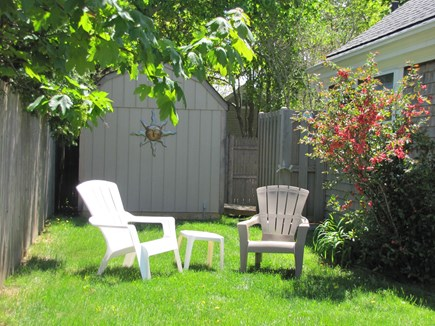 Near Hyannis Port Cape Cod vacation rental - Private side yard shielded by the hydrangeas