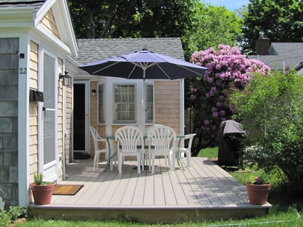Near Hyannis Port Cape Cod vacation rental - Front deck furniture and gas grill