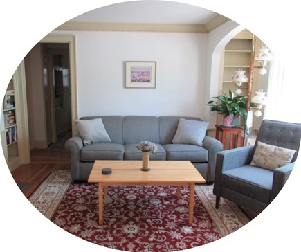 Near Hyannis Port Cape Cod vacation rental - New Queen sofa sleeper, comfortable recliner, plush Oriental rug