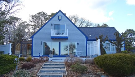 Harwich port Cape Cod vacation rental - Back of the house from the lawn w/views to the water