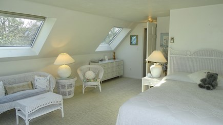 Harwich port Cape Cod vacation rental - Upstairs king master with two skylights, sitting area