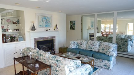 Harwich port Cape Cod vacation rental - Living room with TV, slider to deck