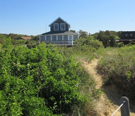 Wellfleet Cape Cod vacation rental - Looking back to house from beach stairs