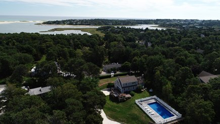 East Orleans Cape Cod vacation rental - Nauset Inlet and Beach bird's eye view from the pool grounds