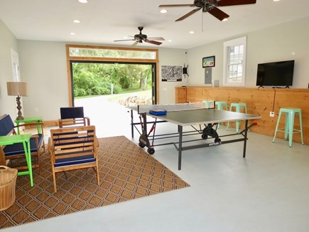 East Orleans Cape Cod vacation rental - CH recreation room w bar stools, flat screen TV, ceiling fans