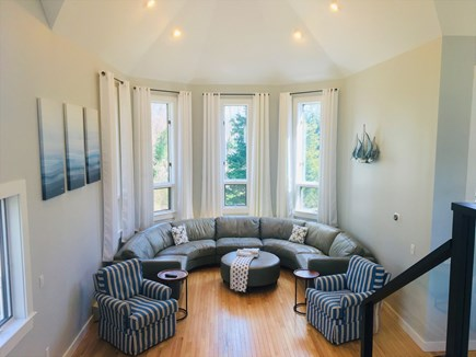 Orleans Cape Cod vacation rental - Living Room- 15 foot diameter Leather Sofa: seating for 10